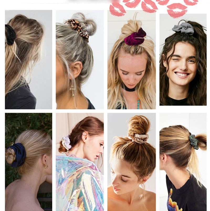 10/20PCS Velvet Solid Scrunchies Elastic Simple Hair Bands for Women or Girls Hair Ropes Solid Color Hair Rubber Scrunchies
