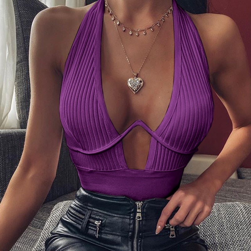 Women Tank Top White Black Crop Top Halter Sexy Solid Color Vest Bras Deep V-neck Casual Cotton Slim Tops