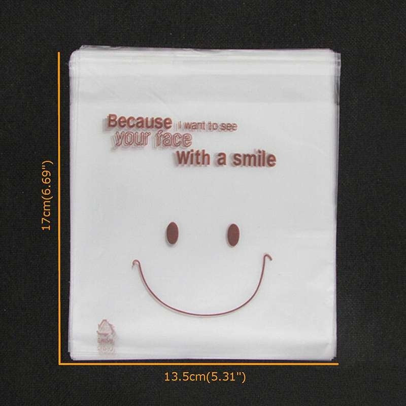 50pcs Cute Happy Self Adhesive Packing Plastic DIY Candy Cookie Gift Bags
