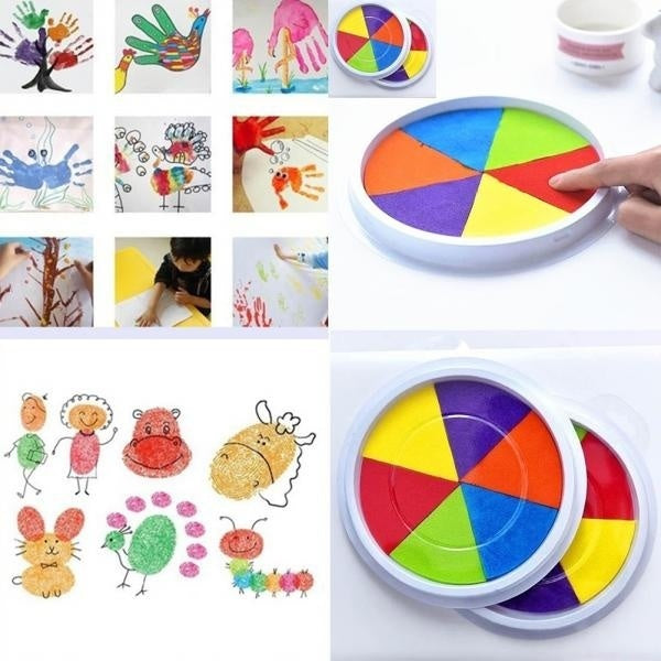 Hot Sales Children Kids DIY Fingerprint Painting Mud Pigment Graffiti Toy Colorful Inkpad.