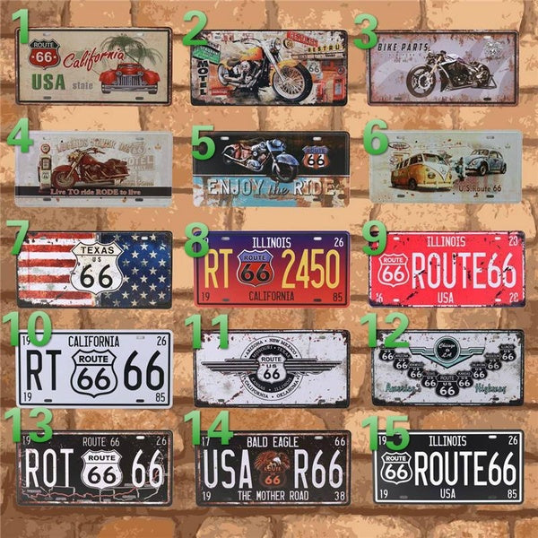 Club Wall Garage USA Vintage Metal Painting Sign Plate Tin Bar Signs Route 66 Car Number License Plaque Poster Home Decor C10