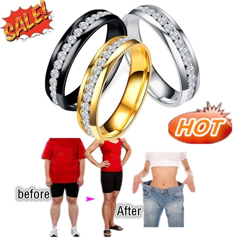 2020 fashion new jewelry stainless steel diamond ring, magnetic therapy health slimming ring