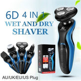 Lastest 6D Electric Shaver Multifunctional 4 IN 1 Rechargeable Washable Shaver Men Cordless Wet and Dry Cortadora De Cabello with Nose Trimmer Razor