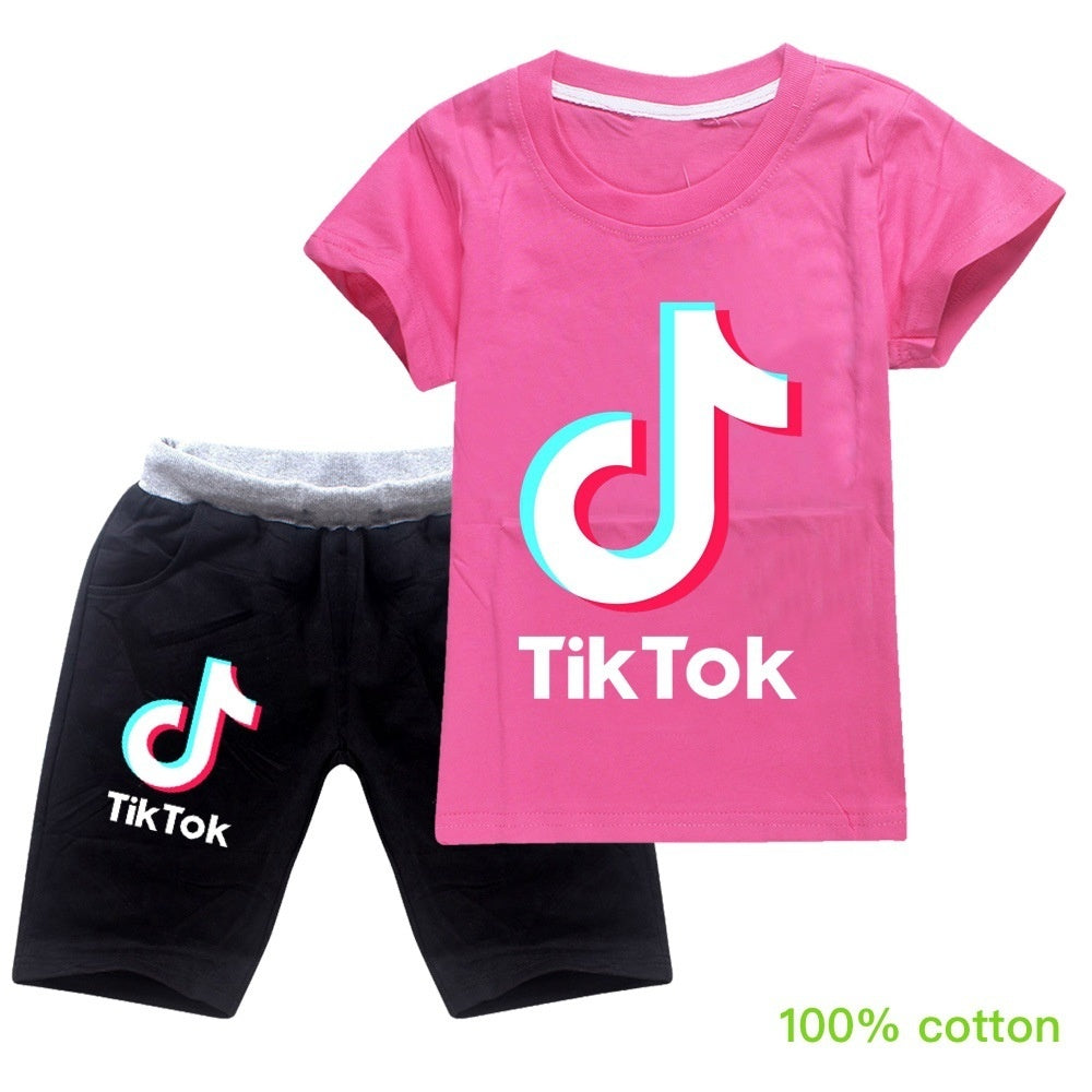 2020 High Quality Tik Tok Kids Tops Suit Childrens Cotton T-shirt and Shorts