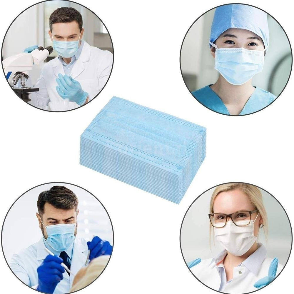 100/50Pcs Disposable Medical Sanitary Masks-Face Mask with Earloops Face Masks Hypoallergenic Protect Yourself Against Dust Pollen Allergens Flu 3Ply Safety Face Masks(Blue/White)