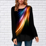 Autumn Women's Fashion Loose Casual Long Sleeved Paint Printing Round Neck Shirt & Blouses Tunic Tops Plus Size XS-8XL