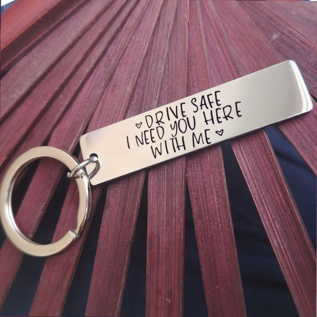 Personalized Driving Safe Keychain Boyfriend Gift  Aluminum, Couple Keychain, Husband Gift