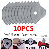 PM2.5  5 layers Anti-dust Filter Activated Carbon Masks Breathable Motorcycle Bicycle Cycling Smog Mask Filter Activated Carbon Masks 10/5/1 pcs