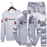 2020  Couple Fashion  Sport Sets Men Zipper Jacket  + Sweat Pants + Pullovers Suits Set  Zipper Warm Jacket