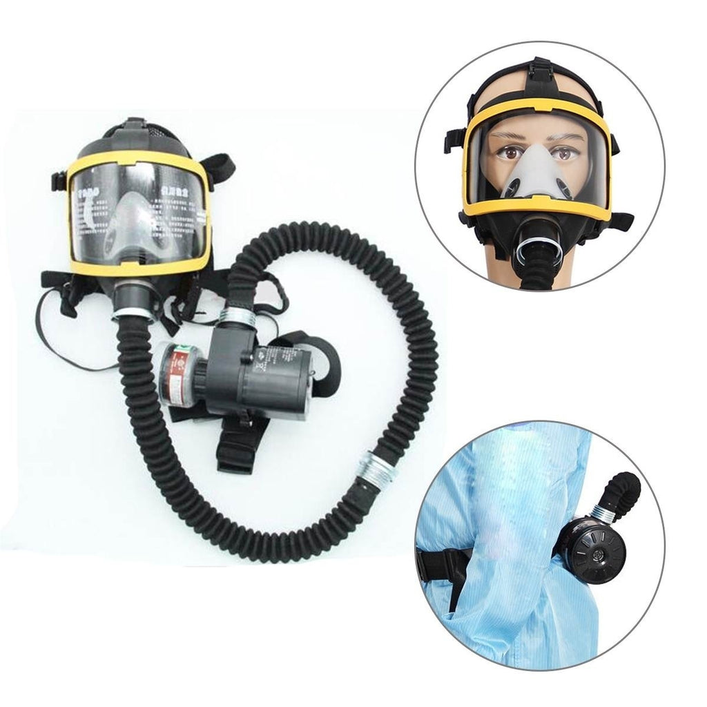 1 Set Electric Constant Flow Supplied Air Fed Full Face Gas MaskSystem Protective Mask for Masks