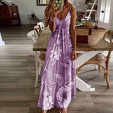 2020 Women Sling Floral Long Dress Boho Summer Sleeveless Strappy Sundress Ladies Flared Long Beach Dress