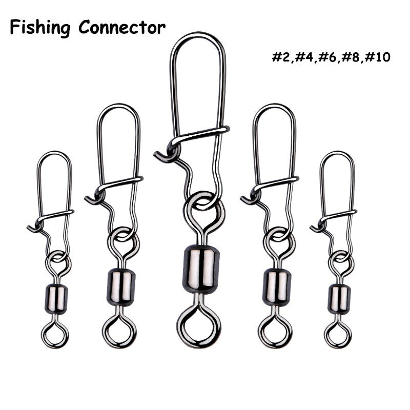 50Pcs Rolling High-carbon steel Fishing Connector Swivels Interlock with Hooked Snap