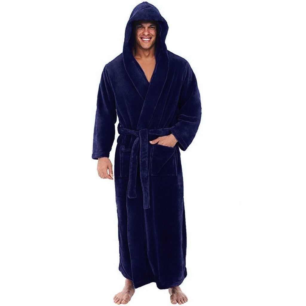 2020 New Men's Hooded Bathrobe in 4 Colored Soft Spa Kimono Shawl Collar Hooded Long Robe