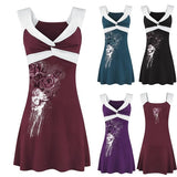 Sexy Women's Fashion V-Neck Sleeveless Evening Party Dress Ladies Summer Sexy Rose Printing Slim Fit Short Mini Dress