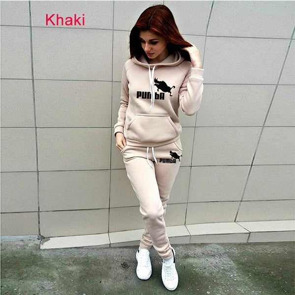 Women Pumba Sportsuits Two Piece Sets Hooded Sweatshirts+ Long Pants 5 Colors