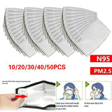 10/20/30/40/50PCS Universal Adult PM2.5  5 Layer Activated Carbon Filter Disposable Face Mask Breathing Insert