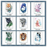 1PC Waterproof Wolf Tiger Flower Colorful Temporary Tattoos Sticker Cool Animal Arm Body Tattoo Buy 2 Get 3
