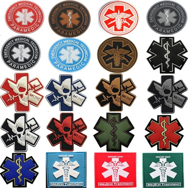 MEDIC Badges Patches Pvc Rubber Patches Emergency Medical Technician Paramedic Hook Patches Rescuer Gear Army Military Morale Patch Medical Treatment Armbands Tactical Patches Clothes Accessories Patches