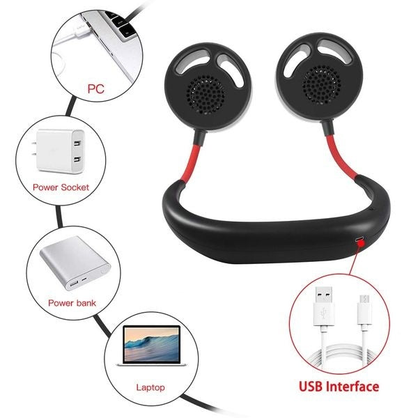 2020 New Sport leafless fan USB Rechargeable Wearable Portable Hand Free Neckband Fan Personal Mini Neck Double Fans 3 Speed Adjustable for Home Office