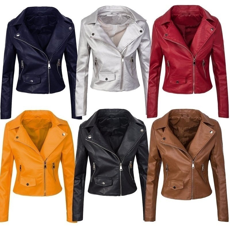 Fashion Designer Women's Faux Leather Jacket Biker Jacket