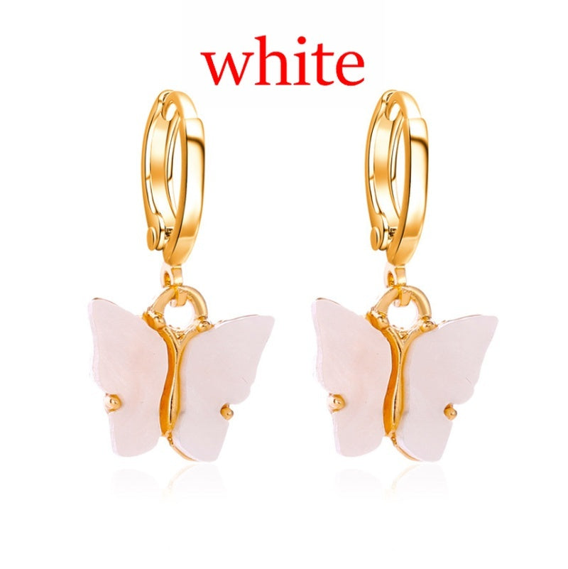 2020 Hot Fashion Lady Butterfly Drop Earrings Animal Sweet Earrings Color Acrylic Butterfly Earrings Colorful Earrings Accessories Jewelry