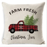 Christmas Decorations Pillow CoversFarmhouse Decor Throw Pillow Cases Retro Truck Cushion Cover 18 X 18 Inch