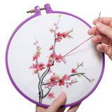 Embroidery Starter Kit Cross Stitch Tool Kit Including 5 Pcs Plastic Embroidery Hoop, 50/100 Color Threads, 2pcs 12 by 18 Inch 14Count Classic Reserve Aida and Tool kit
