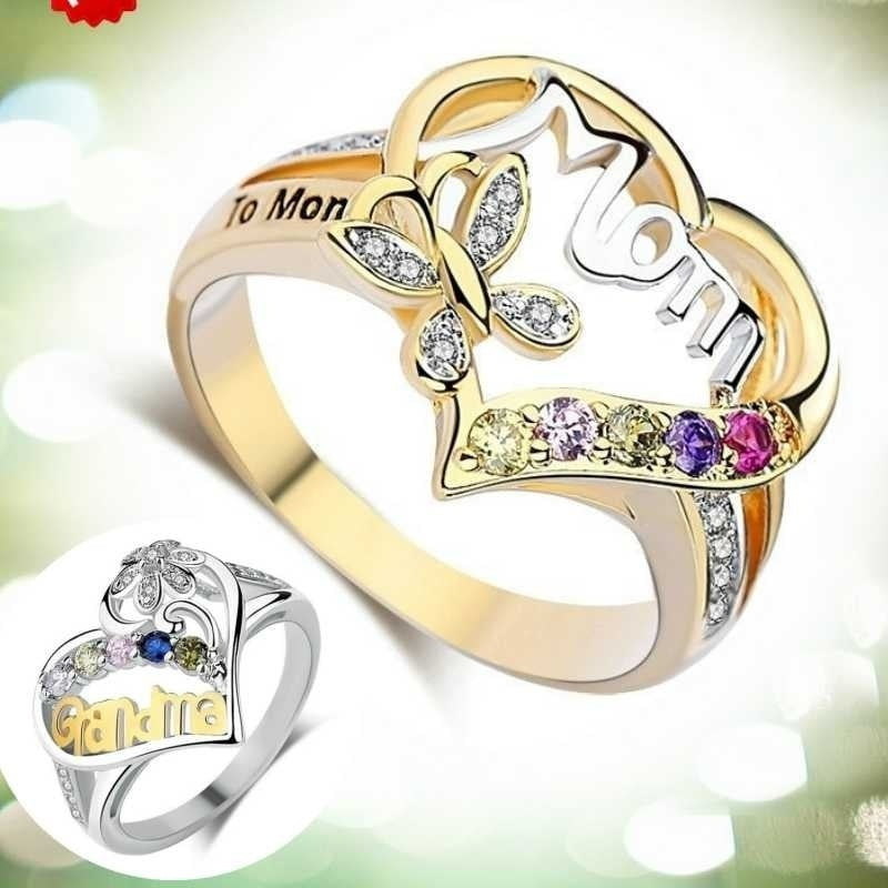 925 Silver Heart Rings for Mom and Grandma Diamond Jewelry Mother Day's Best Gifts Rings Size 6-10