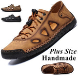 New Hollow-out Sandals Men s Casual Shoes Leather Shoes Outdoor Shoes Plus Size 39-48