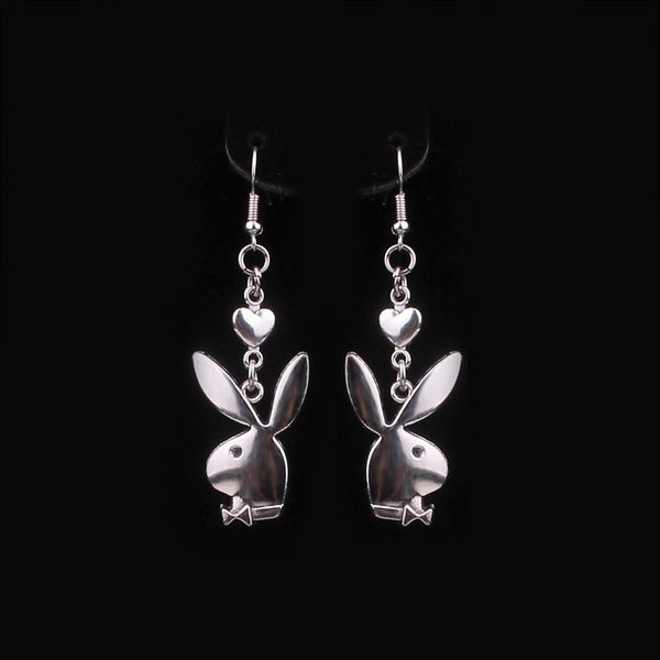 2020 New Fashion Bunny Ear Head Chain Dangle Earrings Rabbit Earring Party Club Wear Jewelry Accessories Statement Long Earring