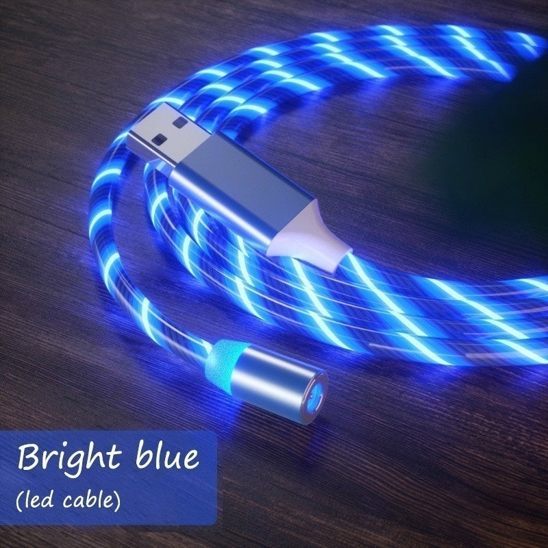 LED Light Magnetic Charger Cable Flowing 2.4A Fast Charging Magnet Micro USB Type C Lightning Cable for iPhone Samsung OPPO VIVO Huawei LED Magnetic Wire Cord