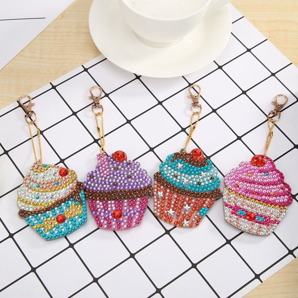 4pcs DIY Full Drill Special Shaped Diamond Painting Xmas Tree Elk Key Chain Gift