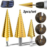 3pcs 4-12/20/32mm Large Hexagonal HSS Titanium Coated Stepped Power Tools Drilling Bit Metal Wood Holder Cutter Drill Bits