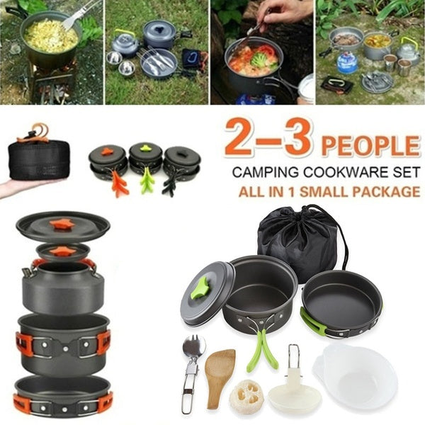 11pcs/Set Outdoor Fast Thermal Conductivity Tableware Mess Kit Kettle Cup Pot Set for Camping Hiking Picnic Travel Cookware Set 2-3 People