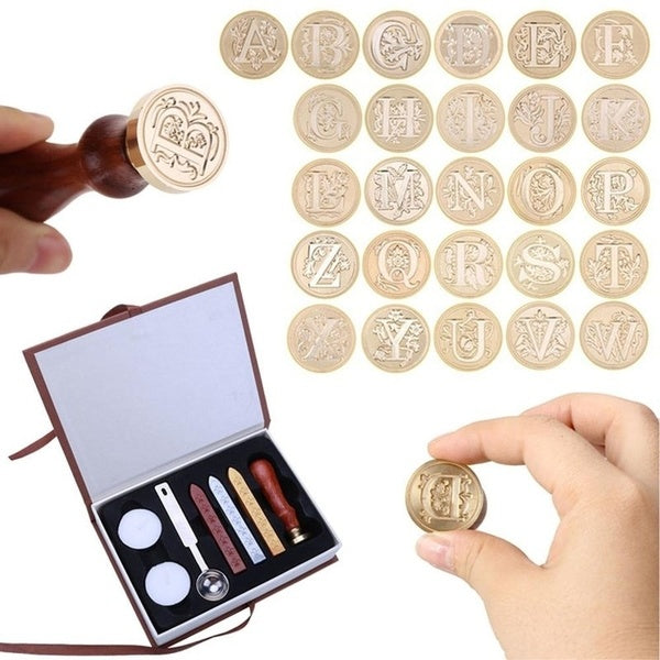 1Pc/1Set Sealing Wax Classic Initial Wax Seal Stamp Alphabet Letter Retro Wood Stick