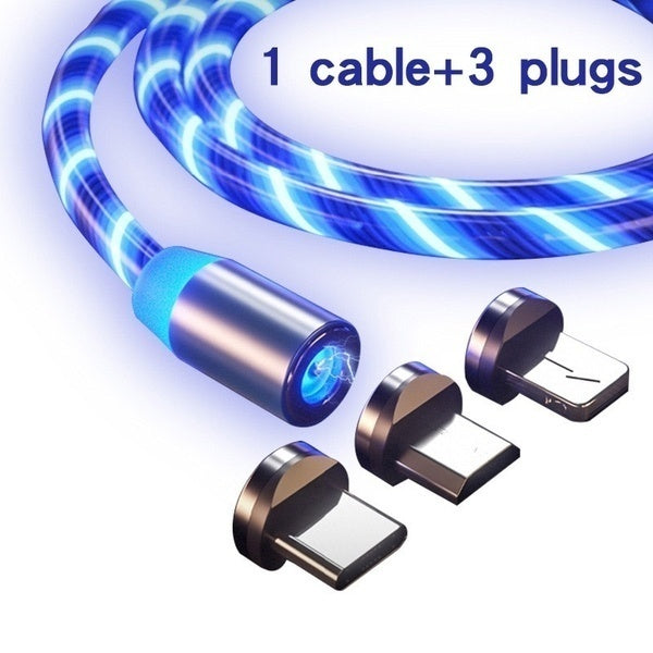 1 IN 3 Magnetic Cable Lighting 2.4A Fast Charge Micro USB-C Cable Type C/IOS/Micro USBMagnet Charger 1M Braided Phone Cable