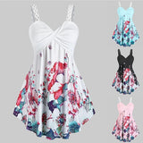 Plus Size Women Summer Fashion V-neck Sleeveless Floral Print Irregular Hem Casual Cotton Blouse Tank Top