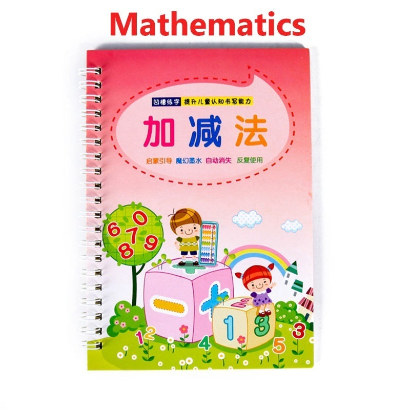 Magic Practice Writing Paste Reusable Kindergarten Preschool Digital Number Calligraphy Copybook Fadeable Ink For Kid Children Exercises Calligraphy Practice Book