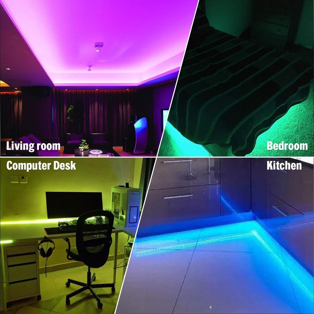 GEEK3C LED Strip Lights 12V LED Light Strip 5M/10M 16.4ft/32.8ft 5050 RGB LED Tape Lights Work with Google Assistant Alexa Phone APP Wireless Controlled for Party