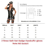 6 Pcs Set High Quality Women Police Policewoman Cosplay Pole Dance Costume Lingerie Dress Cop Uniform Woman Sexy Halloween Pron Party Halloween Outfit Plus Size