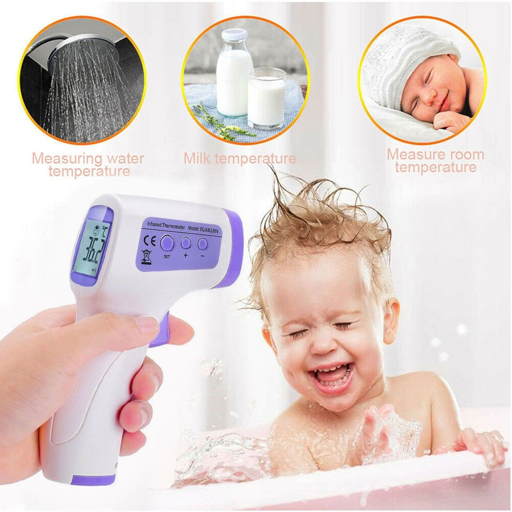 Digital Non Contact Baby/Adult Infrared Forehead Thermometer Tri-Color Backlight LCD Display IR Infrared Thermometer Contactless Household Digital Thermomete Measurement Gun