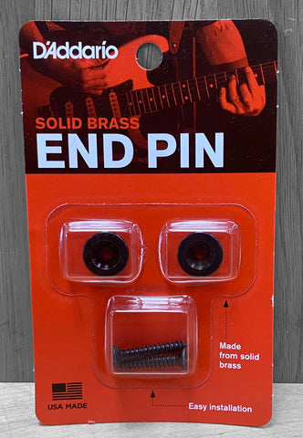 D'Addario Solid Brass End Pin Set - Black