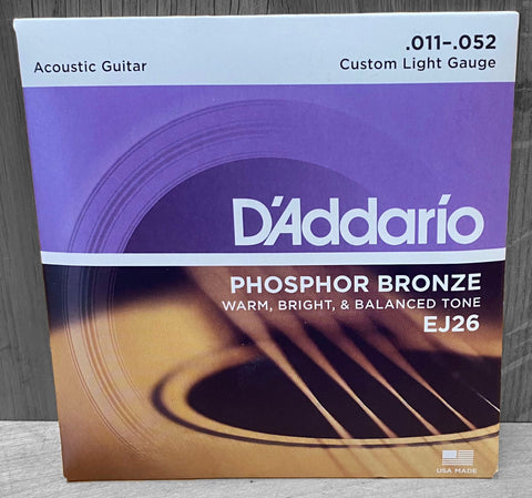D'Addario EJ26 Custom Light Acoustic Strings 11|52