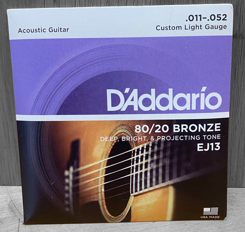 D'Addario EJ13 80/20 Custom Light Acoustic Strings 11|52