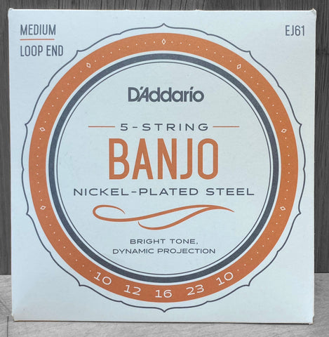 D'Addario EJ61 5-String Loop End Medium Banjo Strings