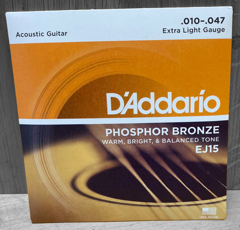 D'Addario EJ15 Extra Light Acoustic Strings 10|47