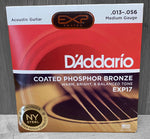 D'Addario EXP17 Medium Coated Acoustic Strings 13|56