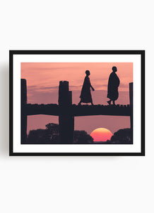Monks at sunset