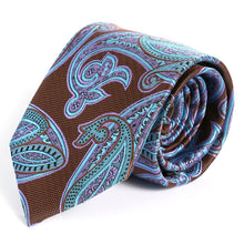 "Load image into Gallery viewer, Slim Paisley Necktie 3.25"" Wide  59 "" Length Brown, Blue and Purple Pattern - Ferrecci USA"