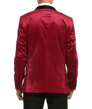 Load image into Gallery viewer, Enzo Burgundy Velvet Slim Fit Shawl Lapel Tuxedo Men's Blazer - Ferrecci USA